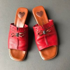 8a3588a1738c5 Brighton Red and Brown Leather Slides